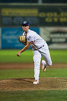 Ogden Raptors relief pitcher Justin Bruihl (45) follows through on his delivery during a Pioneer League game against the Great Falls Voyagers at Lindquist Field on August 23, 2018 in Ogden, Utah. The Ogden Raptors defeated the Great Falls Voyagers by a score of 8-7. (Zachary Lucy/Four Seam Images)