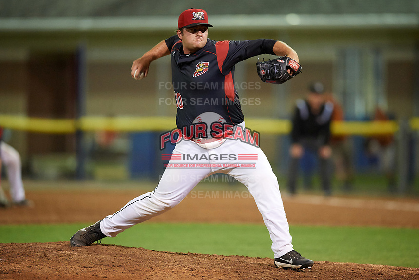 Batavia Muckdogs relief pitcher Bryce Howe (30) delivers a pitch during a game against the Mahoning Valley Scrappers on August 30, 2017 at Dwyer Stadium in Batavia, New York.  Batavia defeated Mahoning Valley 5-1.  (Mike Janes/Four Seam Images)