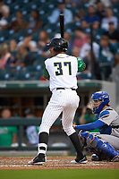 Jacob Scavuzzo (37) of the Caballeros de Charlotte at bat against the Buffalo Bisons at BB&T BallPark on July 23, 2019 in Charlotte, North Carolina. The Bisons defeated the Caballeros 8-1. (Brian Westerholt/Four Seam Images)