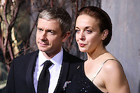 "HOLLYWOOD, CA - DECEMBER 02: Martin Freeman, Amanda Abbington arriving at the Los Angeles Premiere Of Warner Bros' ""The Hobbit: The Desolation Of Smaug"" held at Dolby Theatre on December 2, 2013 in Hollywood, California. (Photo by Xavier Collin/Celebrity Monitor)"
