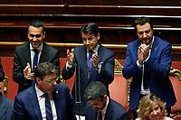 Luigi Di Maio, Giuseppe Conte e Matteo Salvini<br /> Roma 05/06/2018. Senato. Voto di fiducia al nuovo Governo.<br /> Rome 5th of June. senate. Trust vote for the new Government<br /> Foto Samantha Zucchi Insidefoto