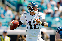 Sept 11, 2011:   Jacksonville Jaguars quarterback Luke McCown (12) drops back to pass during second quarter action between the Jacksonville Jaguars and the Tennessee Titans at EverBank Field in Jacksonville, Florida.   ........