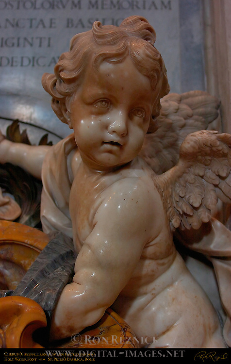 Cherub Holy Water Font Giuseppe Lironi Giovanni Battista deRossi St Peter's Basilica Rome