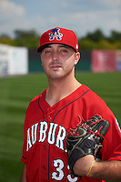 Auburn Doubledays pitcher Matt Pirro (38) poses for a photo before a game against the Batavia Muckdogs on September 7, 2015 at Falcon Park in Auburn, New York.  Auburn defeated Batavia 11-10 in ten innings.  (Mike Janes/Four Seam Images)