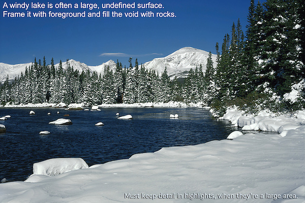 Snow on Red Rock Lake, Colorado John offers private photo tours and workshops throughout Colorado. Year-round.