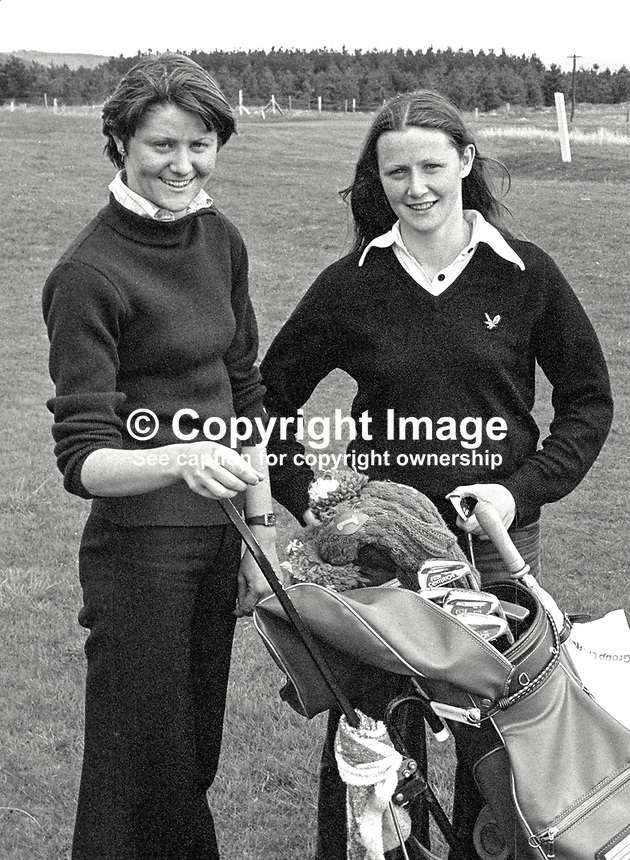 Carole and Philomena Wickham, amateur golfers, Laytown/Bettystown Golf Club, Rep of Ireland, who were competitors in the Irish Ladies Close Championships at Murvagh, Co Donegal, 16th May 1979. 197905160026.<br /> <br /> Copyright Image from Victor Patterson, 54 Dorchester Park, Belfast, UK, BT9 6RJ<br /> <br /> t1: +44 28 9066 1296 (from Rep of Ireland 048 9066 1296)<br /> t2: +44 28 9002 2446 (from Rep of Ireland 048 9002 2446)<br /> m: +44 7802 353836<br /> <br /> victorpattersonbelfast@gmail.com<br /> <br /> www.victorpatterson.com<br /> <br /> Please see my Terms and Conditions of Use at https://www.victorpatterson.com/page2<br /> It is IMPORTANT that you familiarise yourself with them.<br /> <br /> Images used on the Internet incur an additional cost and must be visibly watermarked i.e. © Victor Patterson within the body of the image and copyright metadata must not be deleted. Images used on the Internet have a size restriction of 4kbs and are chargeable at rates available at victorpatterson.com.<br /> <br /> This image is available only for the use of the download recipient i.e. television station, newspaper, magazine, book publisher, etc, and must not be passed on to any third party. It is also downloaded on condition that each and every usage is notified within 7 days to victorpattersonbelfast@gmail.com.<br /> <br /> The right of Victor Patterson (or the named photographer) to be identified as the author is asserted in accordance with The Copyright Designs And Patents Act (1988). All rights reserved and all moral rights are asserted.
