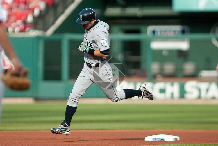 June 14, 2010          Seattle Mariners right fielder Ichiro Suzuki (51) rounds the bases (here, at second base) after hitting a solo home run in the first inning, during his first at-bat.  The St. Louis Cardinals defeated the Seattle Mariners 9-3 in the first game of a three-game homestand at Busch Stadium in downtown St. Louis, MO on Monday June 14, 2010.