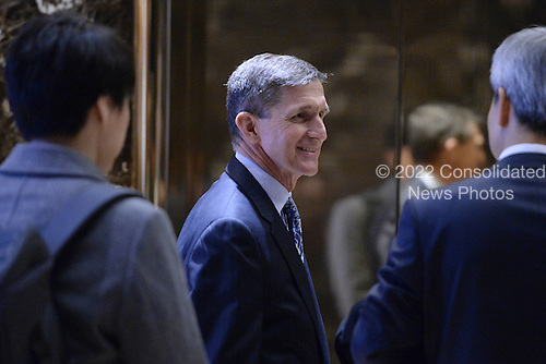Retired Lt. Gen. Michael Flynn, President-elect Donald Trump's pick for National Security Adviser is seen lobby of the Trump Tower in New York, NY, on January 4, 2017. <br /> Credit: Anthony Behar / Pool via CNP