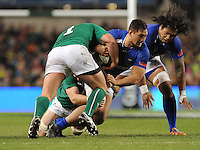 9th November 2013; Jack Lam, Samoa, is tackled by, Jack McGrath (left) and Jamie Heaslip, Ireland. Autumn International Series, Ireland v Samoa, Aviva Stadium, Dublin. Picture credit: Tommy Grealy/actionshots.ie.