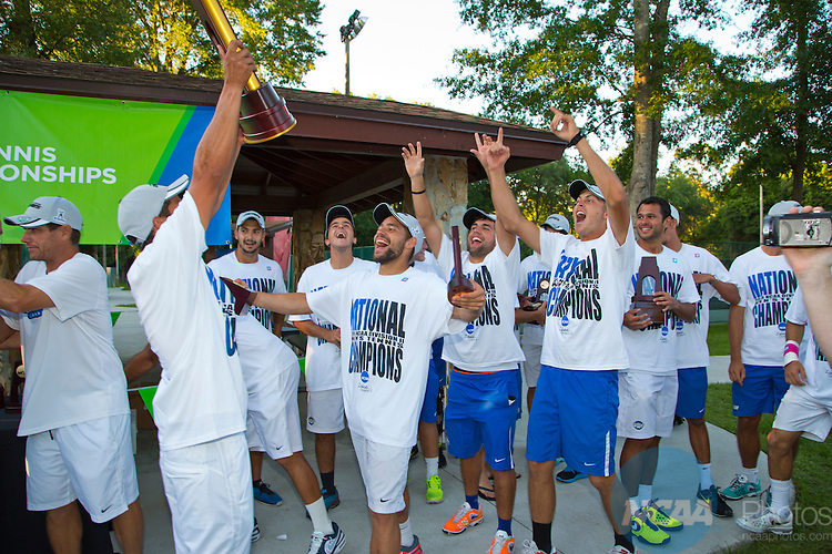 17 MAY 2014:  The University of West Florida Men's tennis team pose with the championship trophy. University of West Florida defeats Hawaii Pacific University during the Division II Men's Tennis Championship held at Sanlando Park in Altamonte Springs, FL.  West Florida defeated Hawaii 5-3 to win the individual national title.  Matt Marriott/NCAA Photos
