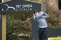 Paul Dunne (IRL) in action on the 1st hole during the first round of the 76 Open D'Italia, Olgiata Golf Club, Rome, Rome, Italy. 10/10/19.<br /> Picture Stefano Di Maria / Golffile.ie<br /> <br /> All photo usage must carry mandatory copyright credit (© Golffile | Stefano Di Maria)