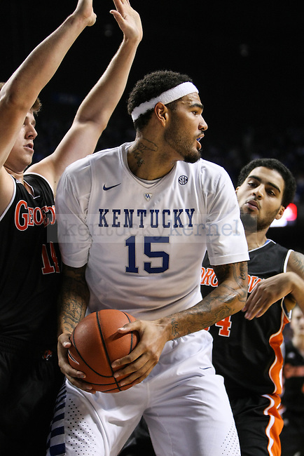 Kentucky forward Willie Caulie-Stein looks for a pass during the first half of the UK men's basketball exhibition game against Georgetown College at Rupp Arena on Sunday, November 9, 2014 in Lexington, Ky. Kentucky leads Georgetown 60 to 24. Photo by Adam Pennavaria | Staff