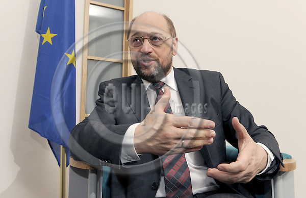 Brussels-Belgium - 10 December 2008 -- MEP Martin SCHULZ (PSE/DE) from Aachen/Germany, chairman of the Socialist Group in the European Parliament, during an interview in the EP -- Photo: Horst Wagner / eup-images