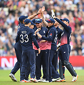 June 10th 2017, Edgbaston, Birmingham, England;  ICC Champions Trophy Cricket, England versus Australia; England celebrate taking the wicket of Aaron Finch of Australia