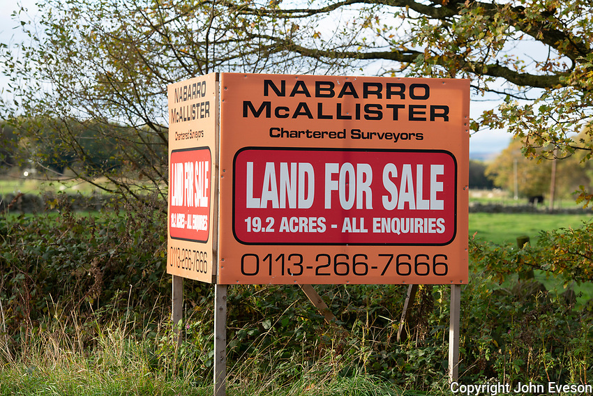 Land for sale sign near Harrogate, North Yorkshire.