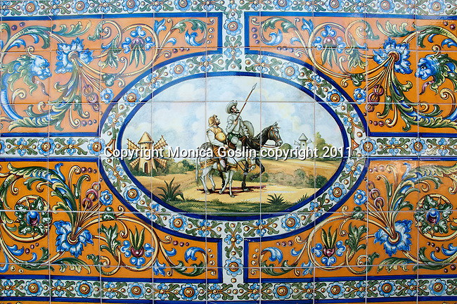 Decorative tiles of a scene from Don Quixote on the outside of the Colombia Restaurant in Ybor City, which is an important historic landmark as the restaurant opened in 1905! Not only are there 4th and 5th generation family members of the Hernandez Gonzmart family working  in the Colombia Restaurant today, but it is said to be the oldest restaurant in Florida and the worlds largest Spanish restaurant!