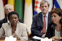 Roma, 23 Settembre 2013<br /> Palazzo Chigi<br /> Incontro Europeo contro le discriminazioni e il razzismo.<br /> 17 Paesi europei firmano la dichiarazione di Roma per la lotta al razzismo.<br /> La Ministra per l'integrazione Cécile Kyenge e la Ministra Belga per le pari opportunità e per l'opposizione al razzismo Joëlle Milquet
