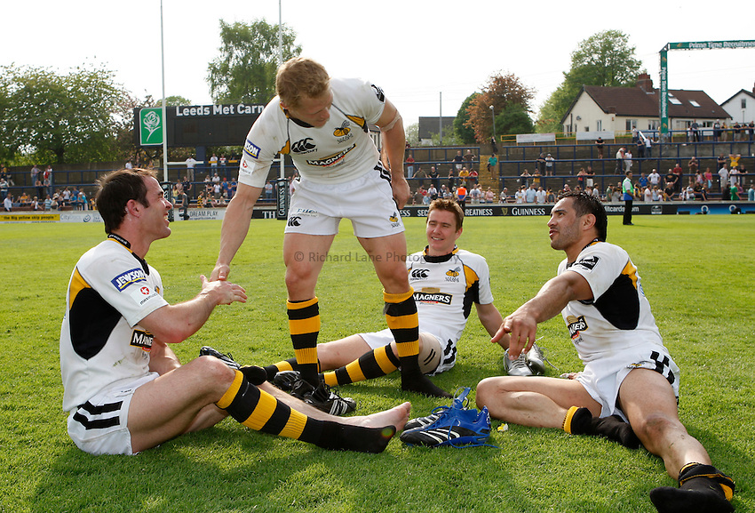 Photo: Richard Lane/Richard Lane Photography..Leeds Carnegie v London Wasps. Guinness Premiership. 10/05/2008. Wasps' Fraser Waters, Josh Lewsey, Eoin Reddan and Riki Flutey enjoy victory and making the semi finals.