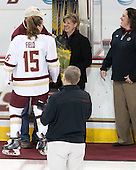 Mathew Field, Emily Field (BC - 15), Sheila Field, Courtney Kennedy (BC - Associate Head Coach) -  The Boston College Eagles defeated the visiting Boston University Terriers 5-0 on BC's senior night on Thursday, February 19, 2015, at Kelley Rink in Conte Forum in Chestnut Hill, Massachusetts.