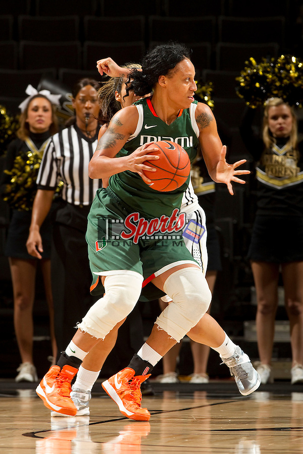Shawnice Wilson (40) of the Miami Hurricanes during second half action against the Wake Forest Demon Deacons at the LJVM Coliseum on January 24, 2013 in Winston-Salem, North Carolina.  The Hurricanes defeated the Demon Deacons 79-78.    (Brian Westerholt/Sports On Film)