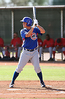 Matt Camp of the Chicago Cubs plays in a minor league spring training game against the Los Angeles Angels at the Angels complex on April 3, 2011  in Tempe, Arizona. .Photo by:  Bill Mitchell/Four Seam Images.