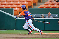 Sophomore catcher Robert Jolly (12) of the Clemson Tigers in a fall practice intra-squad Orange-Purple scrimmage on Sunday, September 27, 2015, at Doug Kingsmore Stadium in Clemson, South Carolina. (Tom Priddy/Four Seam Images)