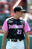 Erie Seawolves pitcher Zach Samuels #21 before a game against the Reading Phillies at Jerry Uht Park on May 29, 2011 in Erie, Pennsylvania.  Erie defeated Reading 6-5 in ten innings.  Photo By Mike Janes/Four Seam Images