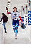 8 January 2016: Anastasia Shlapak, competing for Russia, waves to the spectators after completing her second run of the BMW IBSF World Cup Skeleton race with a combined 2-run time of 1:53.09, ranking an 18th place finish for the day at the Olympic Sports Track in Lake Placid, New York, USA. Mandatory Credit: Ed Wolfstein Photo *** RAW (NEF) Image File Available ***