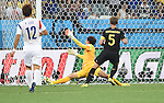 (R-L) Jan Vertonghen (BEL), Kim Seung-Gyu, Lee Yong (KOR),<br /> JUNE 26, 2014 - Football / Soccer :<br /> Jan Vertonghen of Belgium scores a goal past goalkeeper Kim Seung-Gyu of South Korea during the FIFA World Cup Brazil 2014 Group H match between South Korea 0-1 Belgium at Arena de Sao Paulo in Sao Paulo, Brazil. (Photo by SONG Seak-In/AFLO)