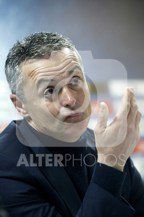 Getafe's coach Fran Escriba in press conference after La Liga match. March 18,2016. (ALTERPHOTOS/Acero)