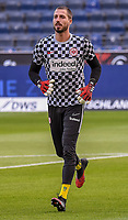 Torwart Kevin Trapp (Eintracht Frankfurt)im Innenraum der Commerzbank Arena - 16.05.2020, Fussball 1.Bundesliga, 26.Spieltag, Eintracht Frankfurt  - Borussia Moenchengladbach emspor, v.l. Stadionansicht / Ansicht / Arena / Stadion / Innenraum / Innen / Innenansicht / Videowall<br /> <br /> <br /> Foto: Jan Huebner/Pool VIA Marc Schüler/Sportpics.de<br /> <br /> Nur für journalistische Zwecke. Only for editorial use. (DFL/DFB REGULATIONS PROHIBIT ANY USE OF PHOTOGRAPHS as IMAGE SEQUENCES and/or QUASI-VIDEO)