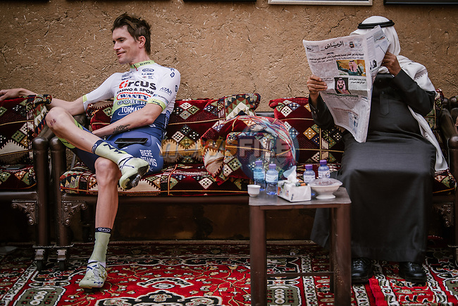 Yoann Offredo (FRA) Circus-Wanty Gobert relaxes before the start of Stage 2 of the Saudi Tour 2020 running 187km from Sadus Castle to Al Bujairi, Saudi Arabia. 5th February 2020. <br /> Picture: ASO/Pauline Ballet | Cyclefile<br /> All photos usage must carry mandatory copyright credit (© Cyclefile | ASO/Pauline Ballet)