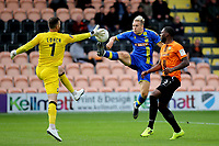 Barnet goalkeeper, Scott Loach, just manages to flick the ball away from Solihull Moors striker, Daniel Wright during Barnet vs Solihull Moors, Vanarama National League Football at the Hive Stadium on 28th September 2019