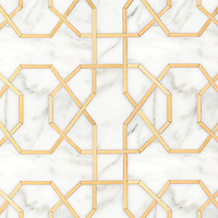 Collins, a waterjet stone mosaic, shown in honed Calcatta Gold and Brass.