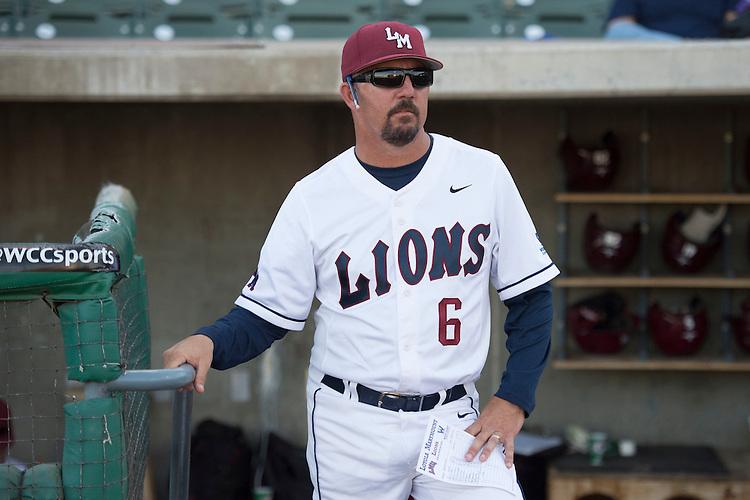 May 22, 2014; Stockton, CA, USA; Loyola Marymount Lions head coach Jason Gill during the WCC Baseball Championship at Banner Island Ballpark.