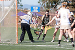 Santa Barbara, CA 02/13/10 - Christie Mearns (Lindenwood # 35), Eleni Papadakos (Lindenwood # 12) and Bonnie Burtis (Cal Poly #10) in action during the Lindenwood-Cal Poly SLO game at the 2010 Santa Barbara Shoutout, Lindenwood defeated Cal Poly SLO 7-6.