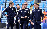 Leicester City players Andy King, Marc Albrighton and Daniel Drinkwater share a joke before the Barclays Premier League match between Leicester City and Swansea City played at The King Power Stadium, Leicester on April 24th 2016