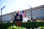 United States President Donald J. Trump makes a statement in front of the Pentagon during the 18th anniversary commemoration of the September 11 terrorist attacks, in Arlington, Virginia on Wednesday, September 11, 2019.   <br /> Credit: Kevin Dietsch / Pool via CNP