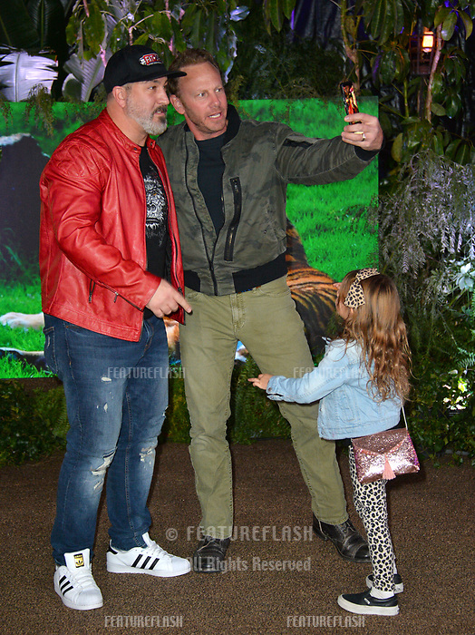 Joey Fatone, Ian Ziering &amp; Penna Mae Ziering at the Los Angeles premiere of &quot;Jumanji: Welcome To the Jungle&quot; at the TCL Chinese Theatre, Hollywood, USA 11 Dec. 2017<br /> Picture: Paul Smith/Featureflash/SilverHub 0208 004 5359 sales@silverhubmedia.com