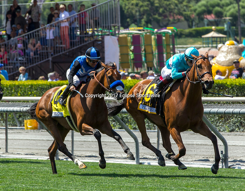 ARCADIA, CA. MAY 27: #4 Goodyearforroses ridden by Corey Nakatani, duels #6 Lady Eli ridden by Irad Ortiz, Jr, in the stretch of the Gamely Stakes (Grade l) on May 27, 2017, at Santa Anita Park in Arcadia, CA.  (Photo by Casey Phillips/EclipseSportswire/Getty Images
