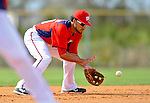 25 February 2012: Washington Nationals' shortstop Ian Desmond fields grounders during their first full squad Spring Training workout at the Carl Barger Baseball Complex in Viera, Florida. Mandatory Credit: Ed Wolfstein Photo