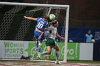 Boston Breaker Kelly Smith tries to score off a corner with a header. Saint Louis Athletica defeated the Boston Breakers 1-0 in Cambridge, Massachusetts on June 14, 2009.
