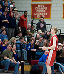 WOLCOTT, CT-031418JS15- Wamogo's Ethan Collins (11) pumps up the could after coming out of a time out during their win over East Hampton in their Division V semifinal game Wednesday at Wolcott High School. <br /> Jim Shannon Republican-American