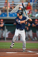 Connecticut Tigers center fielder Luke Burch (29) at bat during a game against the Auburn Doubledays on August 9, 2017 at Falcon Park in Auburn, New York.  Connecticut defeated Auburn 6-4.  (Mike Janes/Four Seam Images)