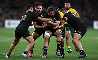 Samuel Whitelock of the All Blacks shields the ball during the Rugby Championship match between Australia and New Zealand at Optus Stadium in Perth, Australia on August 10, 2019 . Photo: Gary Day / Frozen In Motion