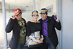 "Days Of Our Lives Louise Sorel poses with Billy Freda (Mr.Romance)  & Dale Badway (R) creator of Fame-Wall at Promo shoot for the annual Broadway Extravaganza in honor of Jane Elissa's Candidacy for Leukemia & Lymphoma Society Woman of the Year and for Hats for Health on April 23, 2012 at the Marriott Marquis Hotel, New York City, New York. In the shoot are Days of Our Live Louise Sorel ""Vivian"", Broadway Bonnie and Clyde Melissa VanDer Schyff and Clay Elder, Dale Badway (Creator Fame-Wall) and host for the upcoming event, Corey Brunish (producer of Bonnie & Clyde) and Billy Freda, Missy Modell (Photo by Sue Coflin/Max Photos)"