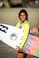 Snapper , Coolangatta, Queensland, Australia . Tuesday February  24 2015) Alessa Quizon (HAW). - The surf was in the 3'-4' range today with South Easterly winds.  The best surf was around the tides with Snapper through to Greenmount being the pick. A number of the mens' Top 34 and women's Top 16 surfers here for the Quiksilver and Roxy Pros took advantage of the conditions to practice for the events Photo: joliphotos.com