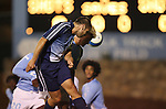11 October 2007: Duke's Paul Dudley (front) and UNC's Garry Lewis (behind) challenge for a header. The University of North Carolina Tar Heels defeated the Duke University Blue Devils 1-0 in overtime at Fetzer Field in Chapel Hill, North Carolina in an Atlantic Coast Conference NCAA Division I Men's Soccer game.