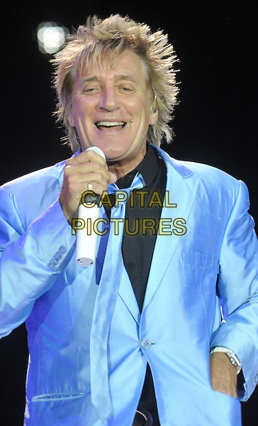ROD STEWART.Rod Stewart performs live in concert at Newbury Racecourse, England, UK, May 29th 2011..music on stage gig half length microphone smiling blue jacket black shirt tie .CAP/JIL.©Jill Mayhew/Capital Pictures