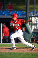 Auburn Doubledays designated hitter Andres Martinez (32) at bat during a game against the Mahoning Valley Scrappers on June 19, 2016 at Falcon Park in Auburn, New York.  Mahoning Valley defeated Auburn 14-3.  (Mike Janes/Four Seam Images)